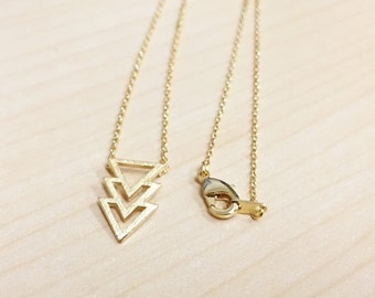 Tiny Gold Chevron Triangle Necklace - Dainty, Simple, Birthday Gift, Wedding Bridesmaid Gift