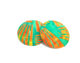 Oversized Sunkiss'd Print Button Earrings