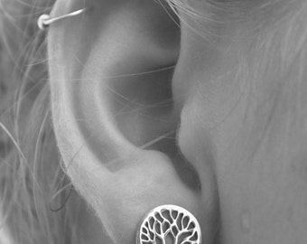 Sterling silver Tree of Life Earrings, 925 Studs, Yggdrasil, Viking Celtic symbol, Norse mythology *Divine Tree of the Cosmos, Birth gift
