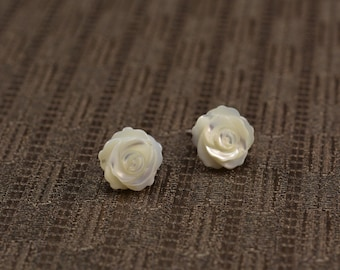 MOP studs, mother of pearl rose flower studs, white carved rose flower earrings, sterling silver studs, white flower studs, flower earrings