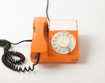 Vintage Original Rotary Telephone ATA 32 by Iskra / Retro Telephone / Yugoslavia / Orange / Socialistic Design / 60s 70s Designer