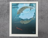 Narwhal Whale Art Print Illustration