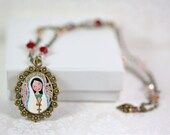 """Jewelry Handmade Art Pendent Necklace """"Mary with the Rosary"""""""