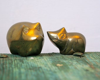 Solid brass cat and pig ornament