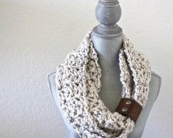 Leather Cuffed Infinity Scarf. Crochet Scarf. Infinity Scarf. Woman's Scarf. Chunky Scarf.