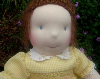 """Waldorf Doll, Smocked Yellow Dress, 17"""" tall girl doll, Handcrafted from Natural Materials, Free Shipping, waldorf inspired"""