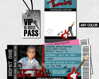 CONCERT TICKET Invitations Rock Star Birthday Party + Bonus Thank You Card/VIP Pass - (print your own) Personalized Printable - Any Color!