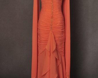 Marilyn Monroe Gentlemen Prefer Blondes Orange Ball Gown Dress Cosplay Costume