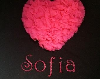 Girls Black Tshirt with Hot Pink Chiffon Heart & Glitter Personalized Name, Toddler Tshirt, Name shirt, Birthday Tshirt