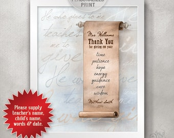 8x10 Personalized Teacher Appreciation Design / Custom Thank You Typography / End of Year Teacher Gift / Paper Scroll