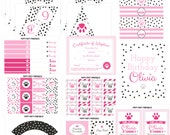 Pink Puppy Birthday Party package - Puppy Party decorations - Dog Birthday party - Puppy Adoption printables - Puppy Pawty
