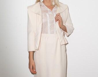 FINAL REDUCTION was 385 now 100 unique & chic vintage 80's COURREGES avant garde cream wool skirt suit