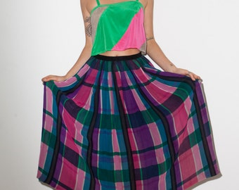 FINAL REDUCTION was 145 now 50 beautiful VINTAGE 70's/80's rainbow plaid silk print midi skirt