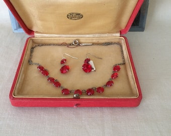 Strawberry Red Necklace or Jewelry Presentation Box...Wedding...Something Old...Germany