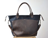 diaper bag tote bag gym bag laptop bag BLACK Waxed canvas oil tanned leather