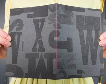 "Brown and Black Letterpress Journal - Handmade Notebook - Medium Sketchbook, 5"" x 7"""