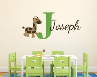 Giraffe Monogram Personalized Name and Initial  Vinyl Decal Boy Girl Nursery Jungle Theme