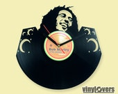 Bob Marley reggae ska rocksteady gift handmade unique wall clock from used vinyl record jamaica rasta music