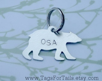 Bear Pet ID Tag - Custom Dog or Cat Pet ID Tag- Handmade