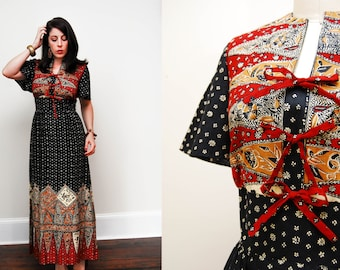 Vintage 1960s Bohemian Tribal Print Maxi Dress / Floor Length / Cotton / Size Med