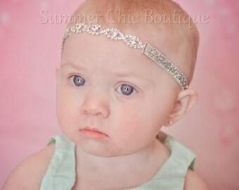 Rhinestone Headband, Baby Headband, Newborn Headband, Infant Headband, Rhinstone Connector Headband, Rhinestone Baby, Silver Headband