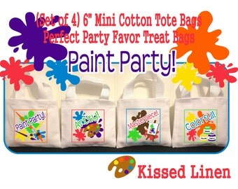 """Paint Party Favors Art Party Birthday Treat Favor Gift Bags Mini 6"""" White Canvas Totes Children Kids Guests Party Favor Gift Bags - Set of 4"""