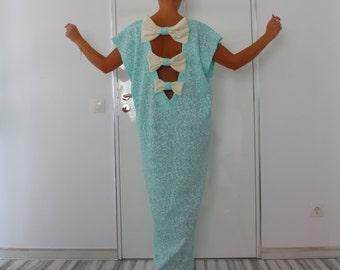 Mint backless Maxi dress, Caftan, backless dress, party dress, spring summer dress