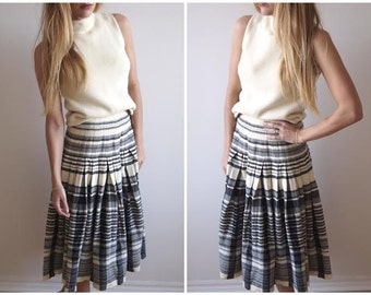 vintage REVERSIBLE PLAID wool midi skirt