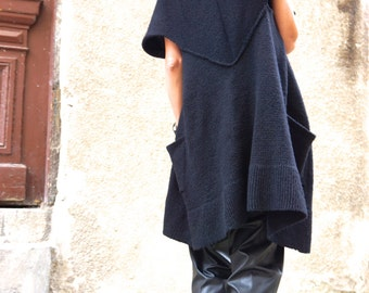 NEW Oversize Black Sleeveless Vest / Fully Knit Top / Maxi Open Overall / Side Pockets Top AAKASHA A06224