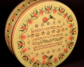 Needlepoint Sampler Tin Sewing Box Cookie Container Bin