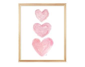 Pink Nursery Art, Watercolor Heart 8x10, Pink Watercolor Heart,  Pink Nursery Decor, Baby Girl Nursery Art, Baby Girl Gift, Girls Wall Art