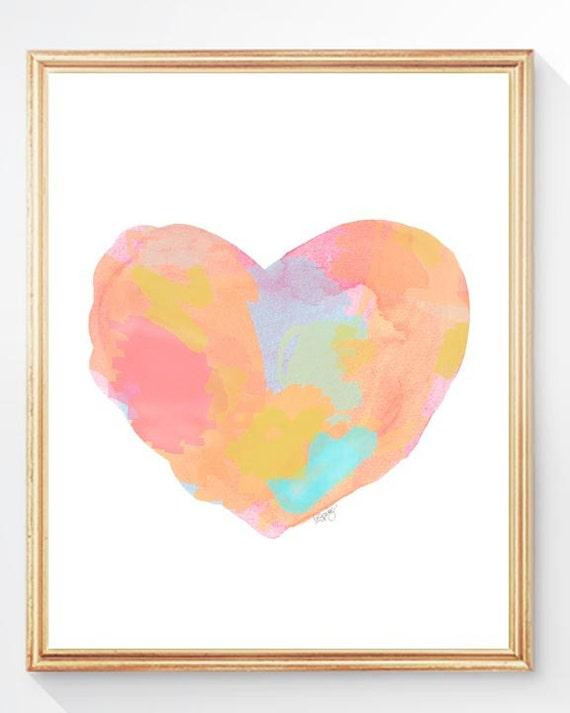 Modern Pastel Nursery Decor, 8x10 Abstract Heart Print