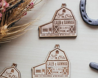 Custom Engraved Save the Date,  Barn Wedding Invitation, Wood Magnet Invitation, Wood Invitation, Wedding Favor