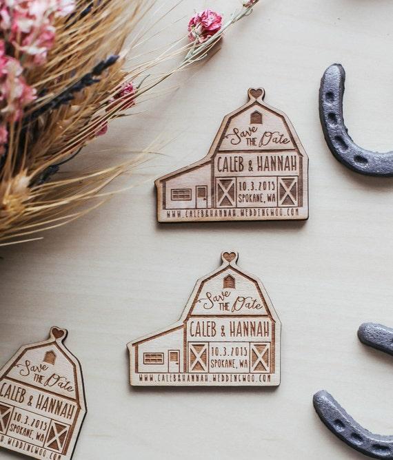 Custom Engraved Save the Date Barn Wedding Wood Magnet Invitation