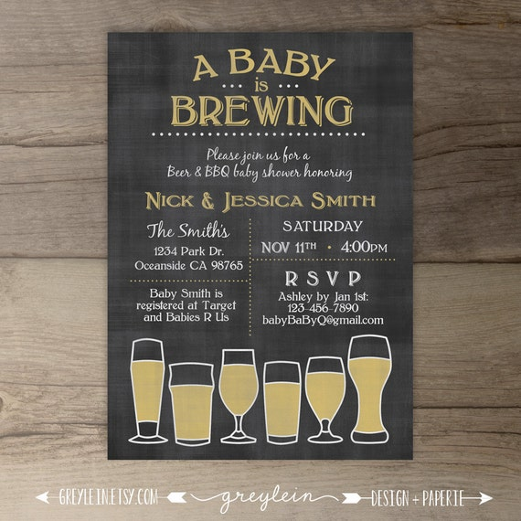 baby is brewing babyq baby shower invitation / guy friendly /,