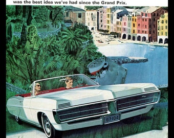 1967 Pontiac Grand Prix Convertible Vintage Car Ad Fitzpatrick and Kaufman 1960s Auto Advertising Artwork