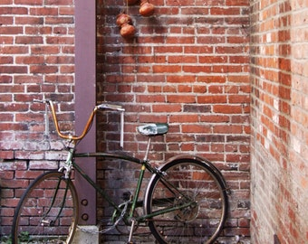 Vintage Cruiser Bike & Industrial Brick Wall in Victoria, Vancouver Island, BC, Architecture Wall Art Square Photograph Print, 6 x 6, 8 x 8