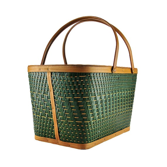 Woven Burlington Picnic Basket Hawkeye Pattern Metal Handles Vintage Mid Century Wooden Basket with Lid and Brass Hinges