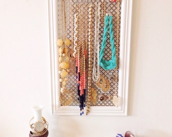 Jewelry Hanger, Jewelry Organizer, Patterned Metal, Accessory Necklace Wall Hanging, Hooks, White Framed, Boho, Rings, Bracelets Storage