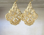 Elegant Art Nouveau Earrings - Matte Gold Filigree Earrings - Floral Filigree Earrings - Dangle Earrings - Bridesmaid Gift