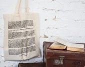 Pride And Prejudice Cotton Tote Bag - Book Page Print - Mr Darcy Proposal - Jane Austen Quote - Cotton Book Bag - Gift for Book Lover