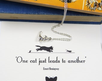 Cat Lover Necklace - Gift for Cat Lover - Ernest Hemingway Quote - Silver Cat Necklace - Cat Jewellery - Kitty Necklace - Pet Gift - Bookish