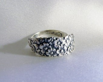 Forget Me Not Small Flower Spoon Ring Sterling Silver Symbolic of Remembrance