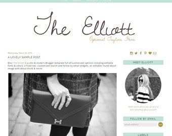 Premade Blogger Template - The Elliott