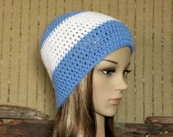 AFL North Melbourne Football Beanie, Men Womens Kids Wool Crochet Kangaroos Hat in Blue and White Australia