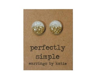 White with gold glitter stud earrings
