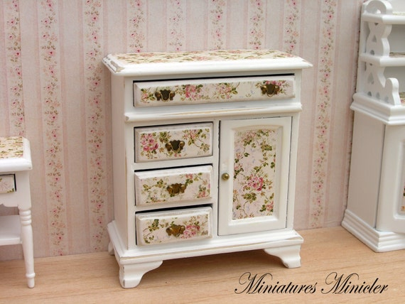 miniature dollhouse commode shabby chic style