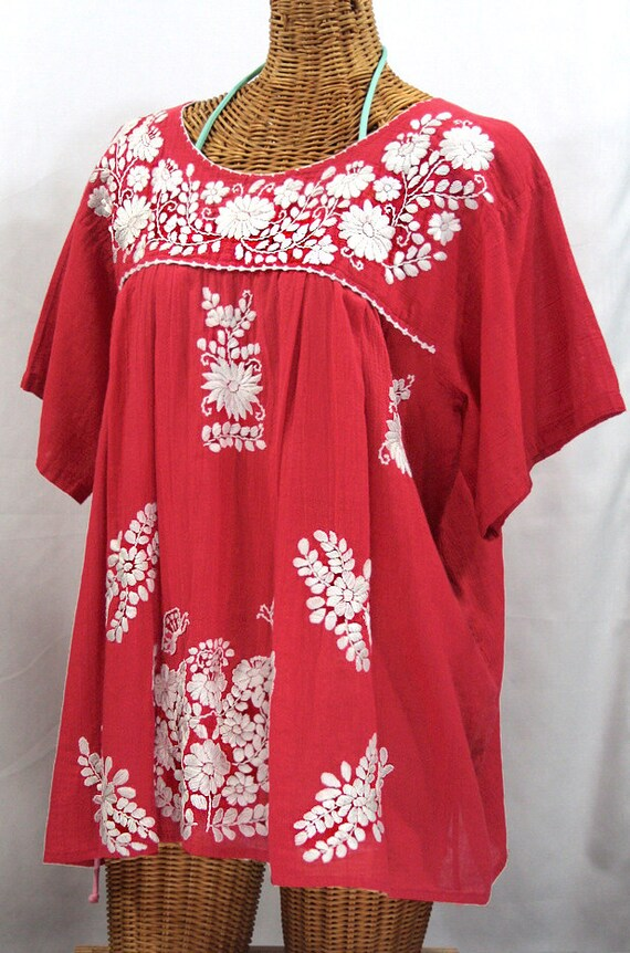 Innovative Vintage Mexican Embroidery Blouse Womens Blouses BOHO Womens Tops