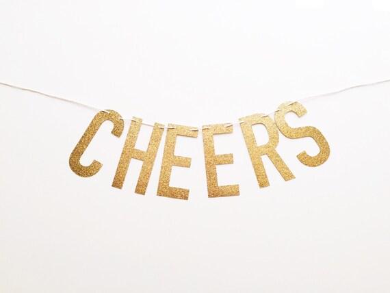 Cheers Gold Glitter Banner
