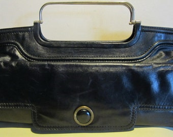Great vintage dark blue leather bag with metal handles, seventies